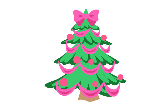 Christmas Tree With Pink Bowtie Svg Cut File By Creative Fabrica