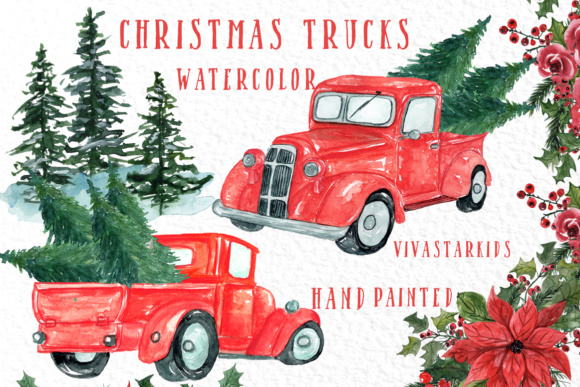 Christmas Truck Clipart Graphic Illustrations By vivastarkids