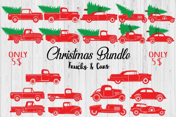 Christmas Trucks & Cars Bundle Grafik Plotterdateien von creativespace