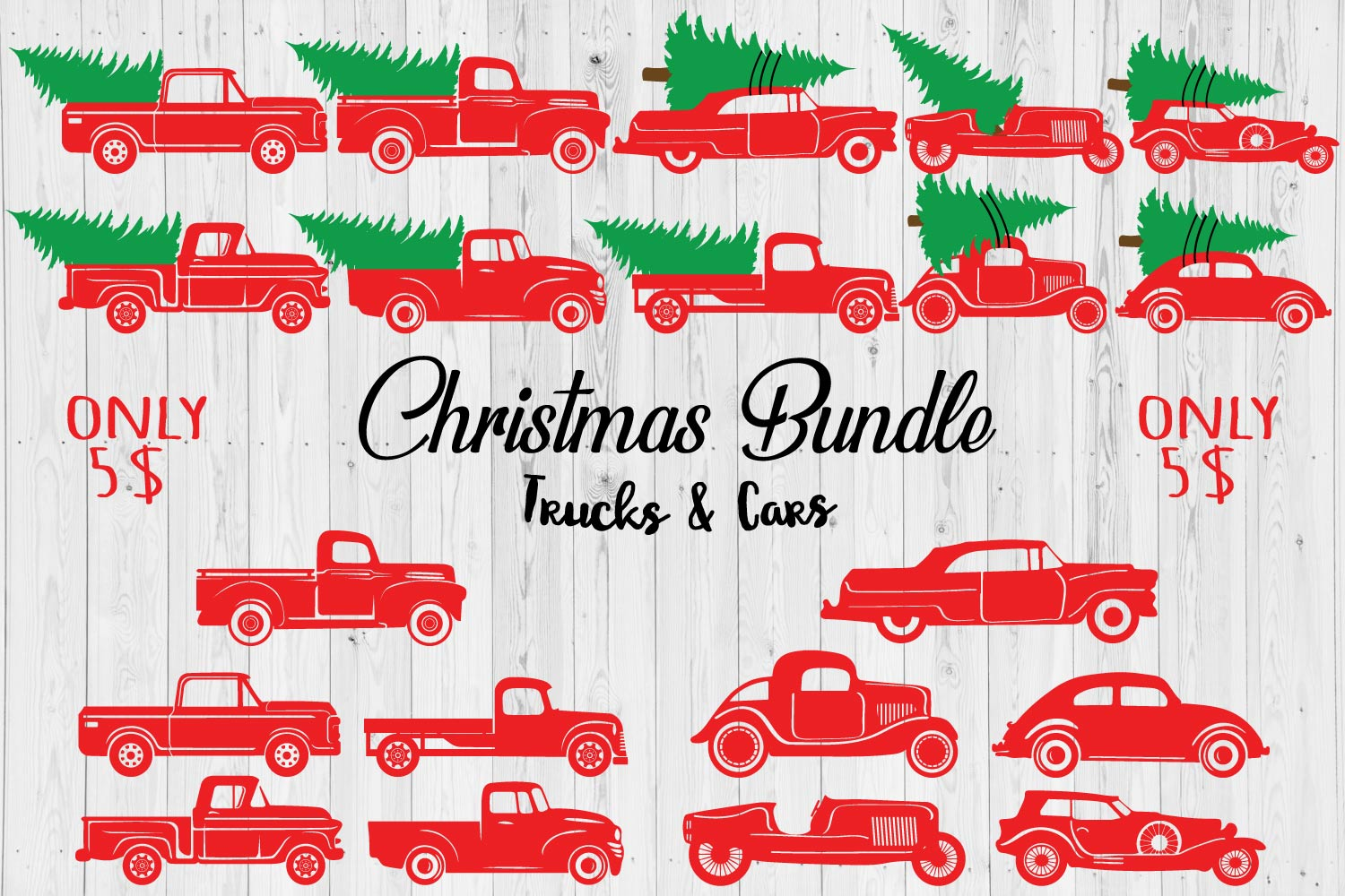 Download Free Christmas Trucks Cars Bundle Graphic By Creativespace for Cricut Explore, Silhouette and other cutting machines.