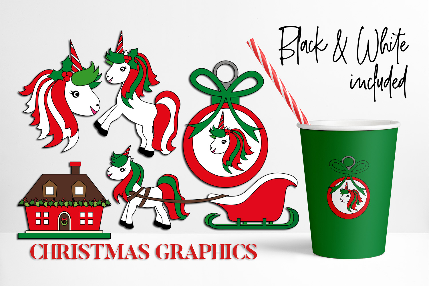 Download Free Christmas Unicorns Graphic By Darrakadisha Creative Fabrica for Cricut Explore, Silhouette and other cutting machines.