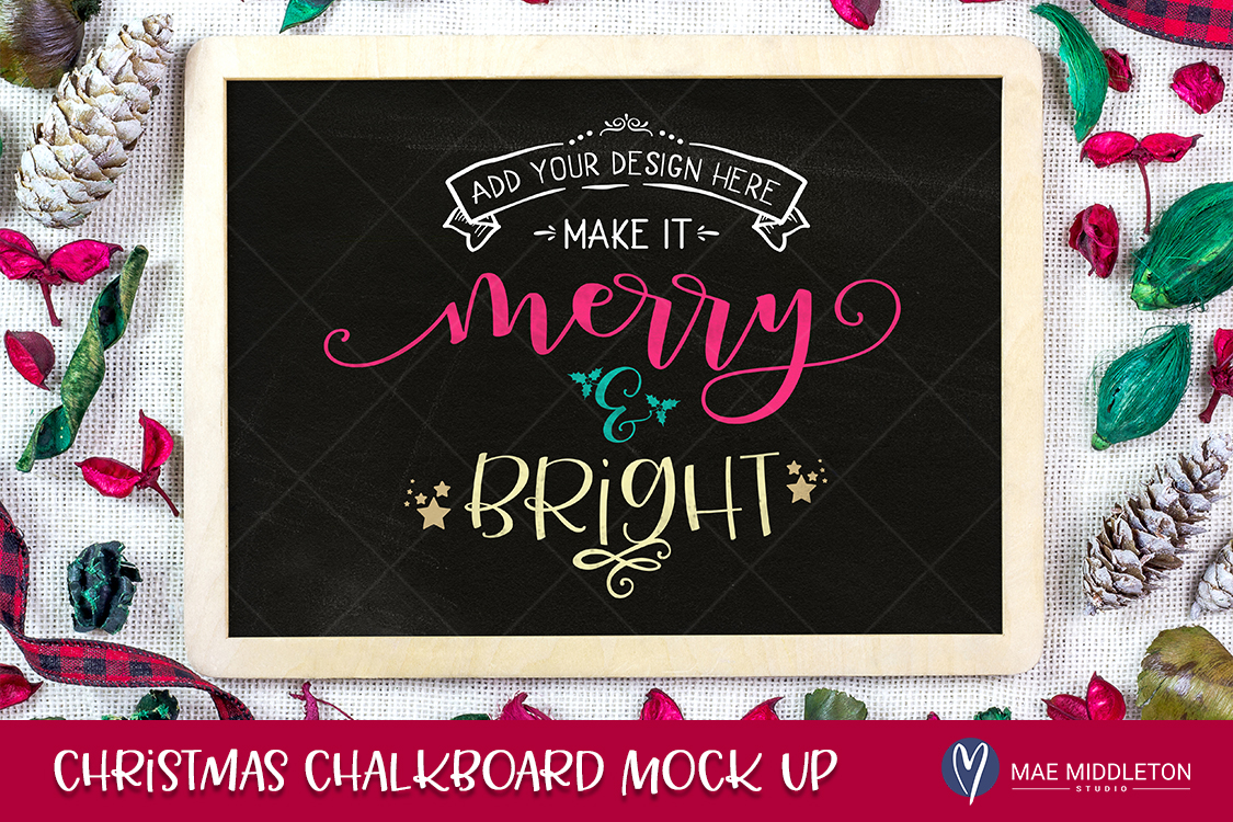 Download Free Christmas Winter Chalkboard Mock Up Graphic By for Cricut Explore, Silhouette and other cutting machines.