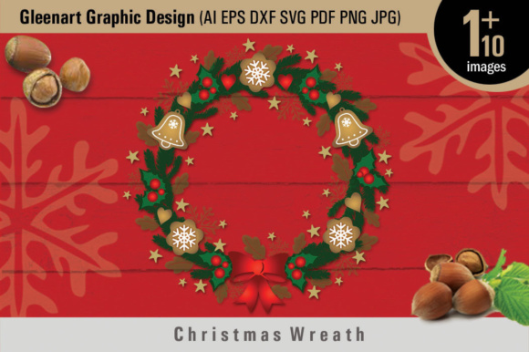 Download Free Christmas Wreath And Christmas Graphic Elements Graphic By for Cricut Explore, Silhouette and other cutting machines.