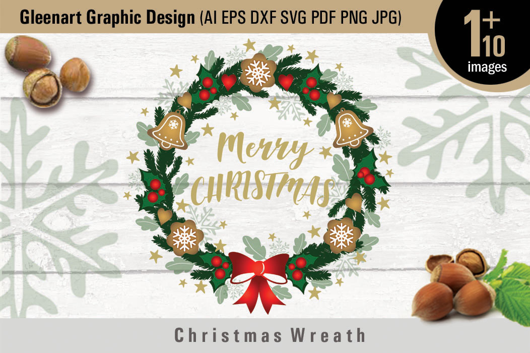 Christmas Wreath And Christmas Graphic Elements Grafico Por