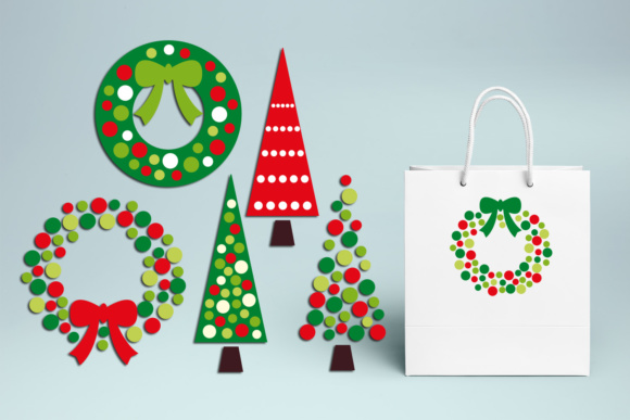 Christmas Wreath and Tree Polkadot Graphic By Revidevi Image 3