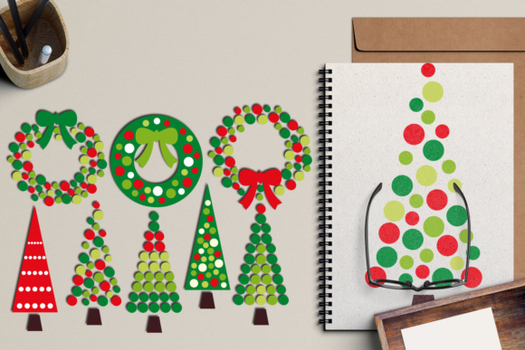 Download Free Christmas Wreath And Tree Polkadot Graphic By Revidevi for Cricut Explore, Silhouette and other cutting machines.