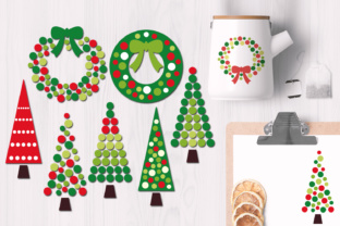 Christmas Wreath and Tree Polkadot Graphic By Revidevi