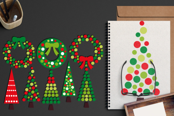 Christmas Wreath and Tree Polkadot Graphic By Revidevi Image 5