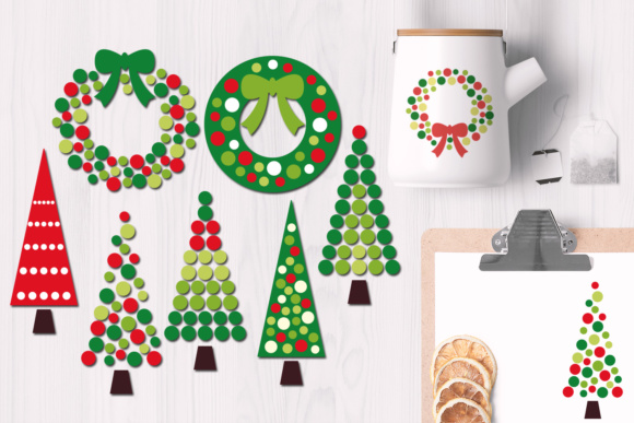 Print on Demand: Christmas Wreath and Tree Polkadot Graphic Illustrations By Revidevi