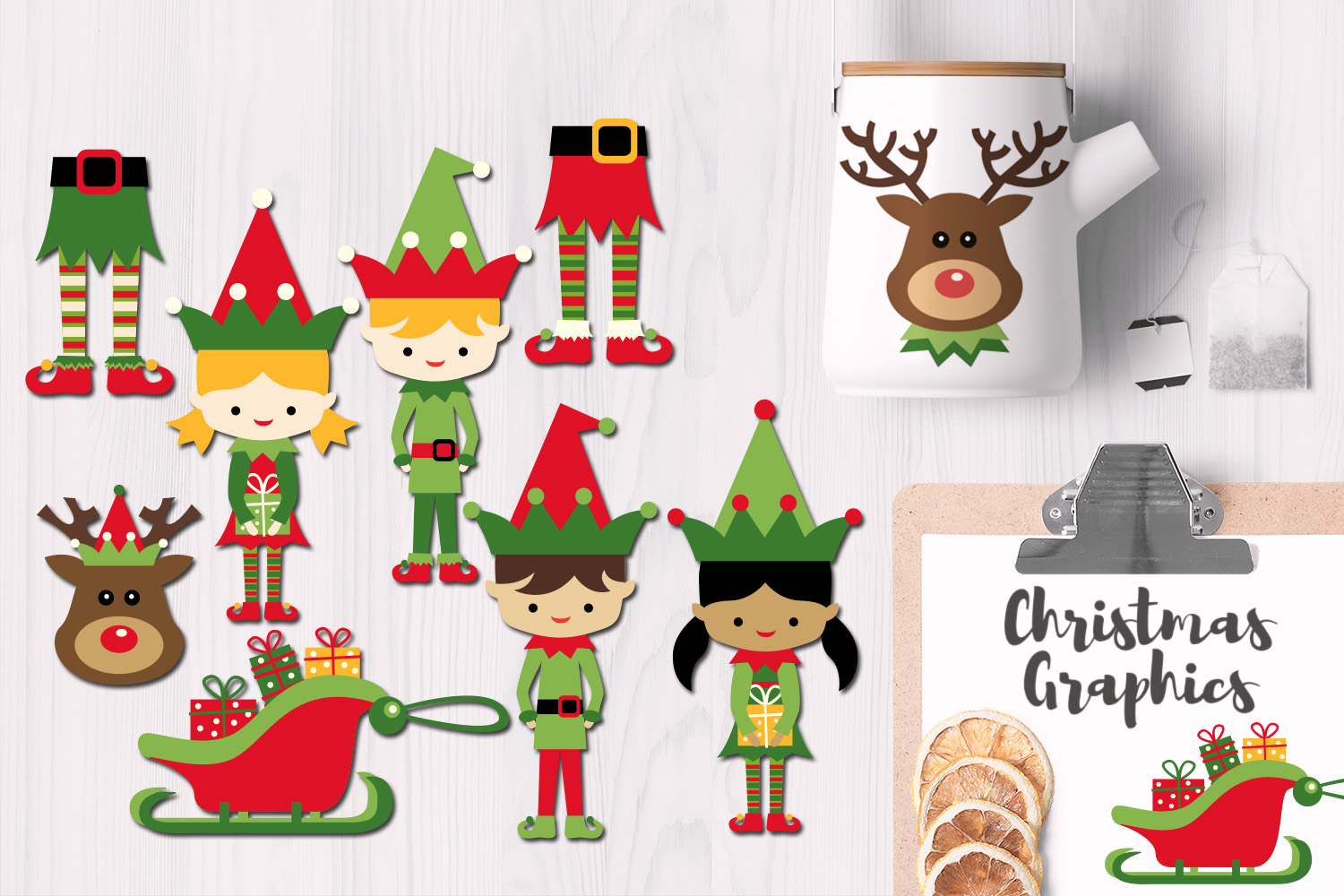 Download Free Christmas Feet Elf Reindeer Head Sleigh Graphic By Revidevi for Cricut Explore, Silhouette and other cutting machines.