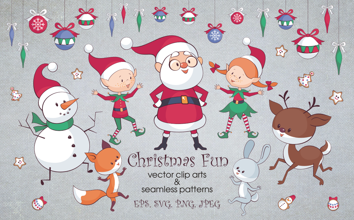 Download Free Christmas Fun Bundle Graphic By Olga Belova Creative Fabrica for Cricut Explore, Silhouette and other cutting machines.