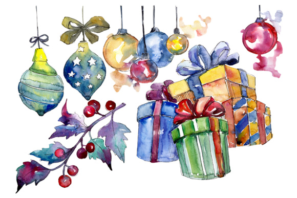 Print on Demand: Christmas Gift Watercolor Set Graphic Illustrations By MyStocks