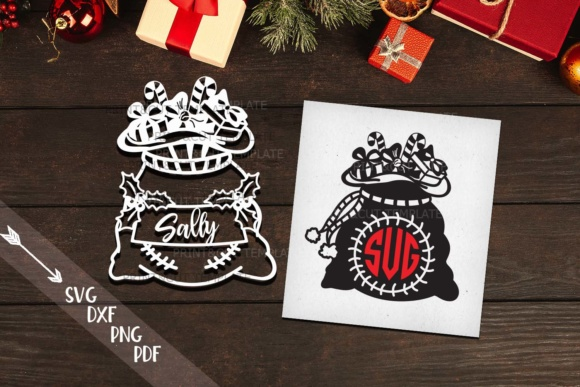 Download Free Christmas Monogram Santa Sack Monogram Christmas Tag Graphic for Cricut Explore, Silhouette and other cutting machines.