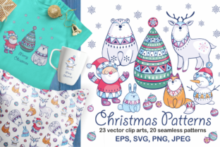 Christmas Patterns and Clip Arts Graphic By Olga Belova
