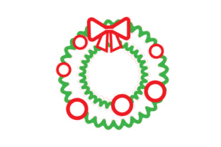 Christmas Wreath Outline Design Sewing Cards Craft Cut File By Creative Fabrica Crafts