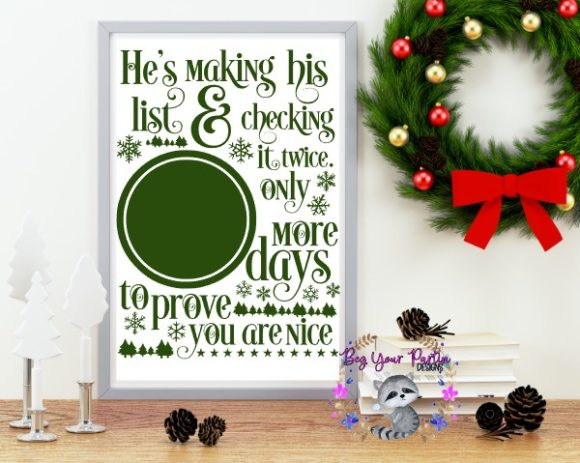 Download Free Christmas Countdown Graphic By Beg Your Partin Designs for Cricut Explore, Silhouette and other cutting machines.