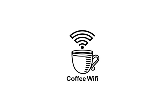 Print on Demand: Coffee Wifi Icon Graphic Icons By sabavector
