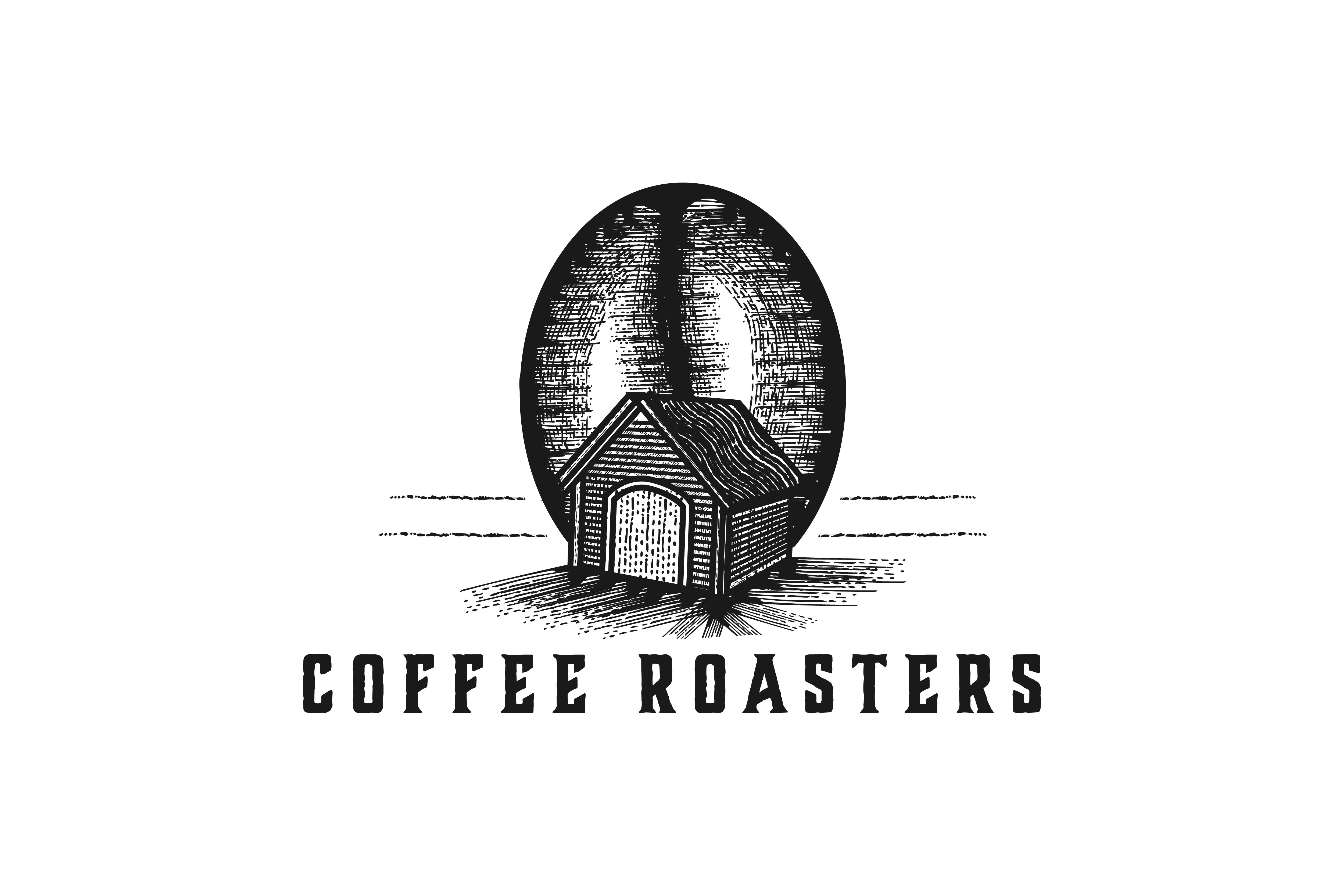 Download Free Coffee Bean And House Production Logo Graphic By for Cricut Explore, Silhouette and other cutting machines.