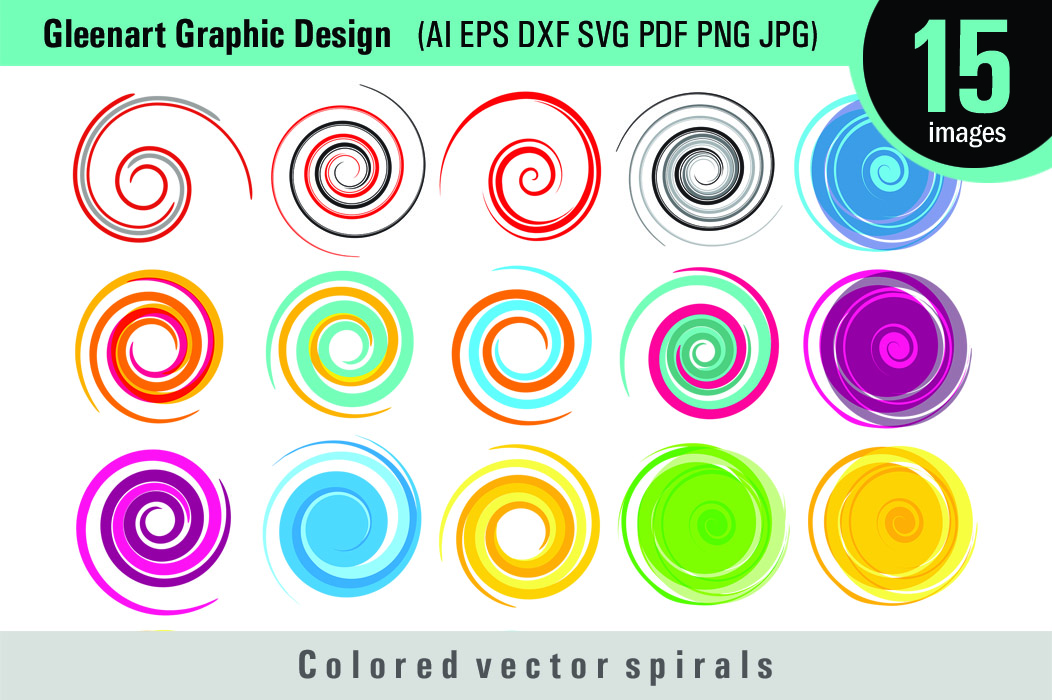 Download Free Colored Spirals Bundle Clipart Graphic By Gleenart Graphic for Cricut Explore, Silhouette and other cutting machines.