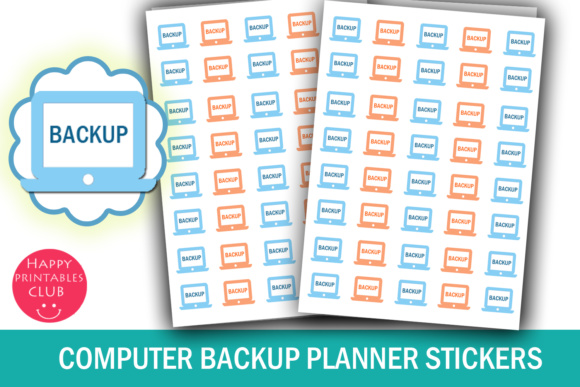 Print on Demand: Computer Backup Planner Stickers Graphic Crafts By Happy Printables Club