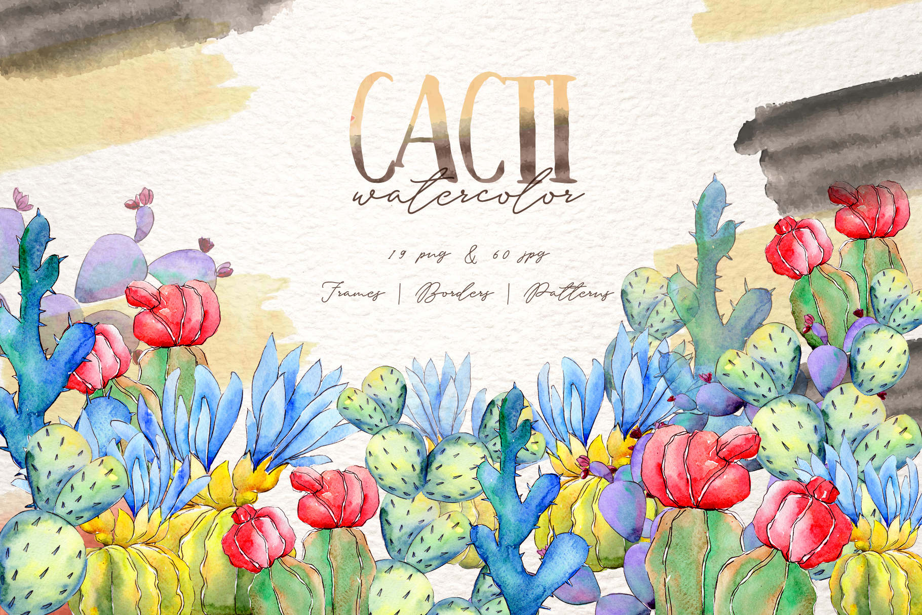 Download Free Cool Colorful Cacti Watercolor Set Graphic By Mystocks for Cricut Explore, Silhouette and other cutting machines.