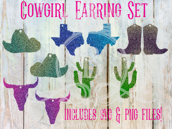 Cowgirl Earring Set Graphic Illustrations By BellaUniquePrintique