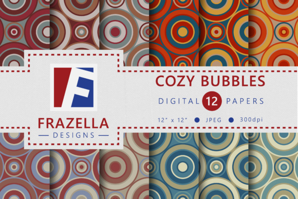 Print on Demand: Cozy Bubbles Retro Circle Digital Paper Collection Graphic Patterns By Frazella Designs
