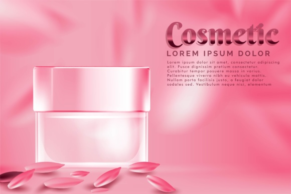 Cream Jar Cosmetic Products Ad, with Pink Petal Rose Background Graphic By ojosujono96