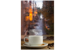 Download Free Cup Of Strong Coffee On The Rainy Window Background Graphic By for Cricut Explore, Silhouette and other cutting machines.