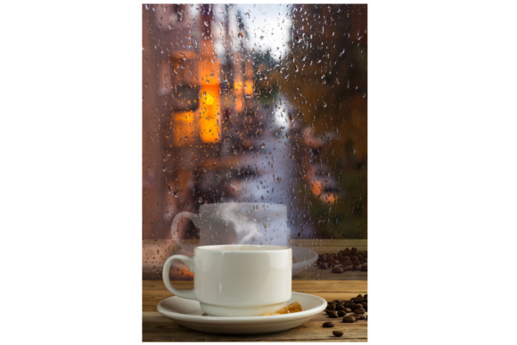 Print on Demand: Cup of Strong Coffee on the Rainy Window Background Graphic Food & Drinks By TasiPas