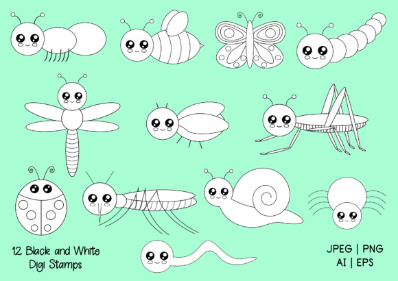 Cute Bugs Digi Stamps and Clip Art Graphic By Janet's Art Corner Image 2