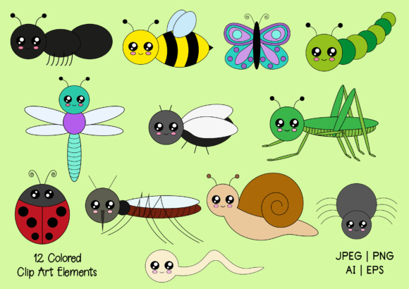 Cute Bugs Digi Stamps and Clip Art Graphic By Janet's Art Corner Image 3