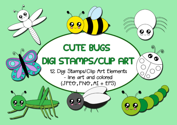 Print on Demand: Cute Bugs Digi Stamps and Clip Art Graphic Illustrations By Janet's Cute Designs