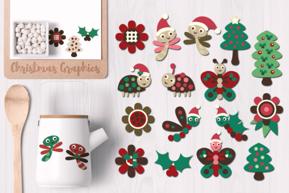 Print on Demand: Cute Christmas Bugs Graphic Illustrations By Revidevi