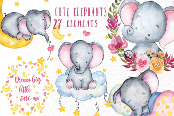 Cute Elephant Clipart Graphic Crafts By vivastarkids