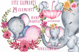 Print on Demand: Cute Elephants Clipart Graphic Crafts By vivastarkids