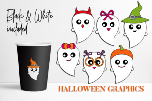Download Free Cute Halloween Ghosts Graphic By Darrakadisha Creative Fabrica for Cricut Explore, Silhouette and other cutting machines.