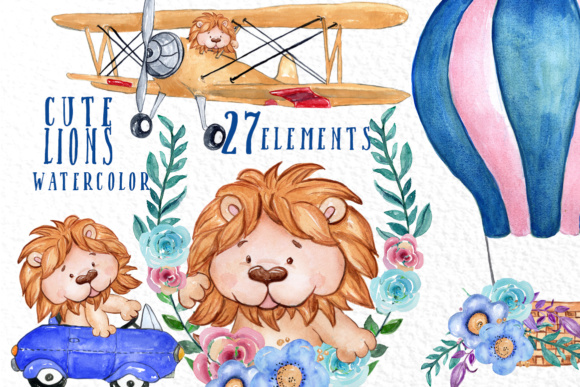 Cute Lions Clipart Graphic Illustrations By vivastarkids