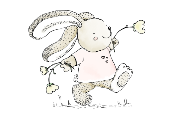 Cute Rabbit Skipping with Flowers Clip Art Illustration Graphic By Jen Digital Art Image 2