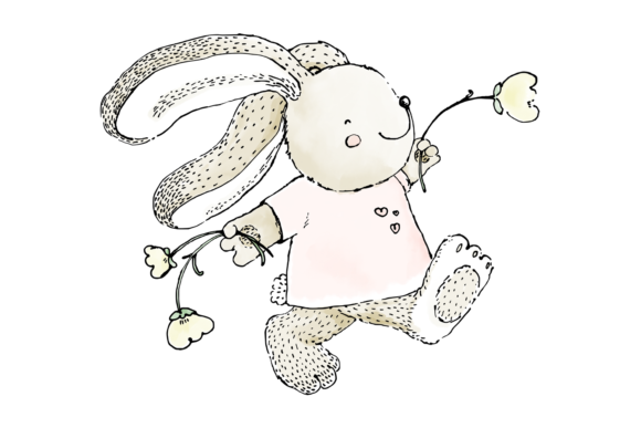 Cute Rabbit Skipping with Flowers Clip Art Illustration Graphic By Jen Digital Art Image 3
