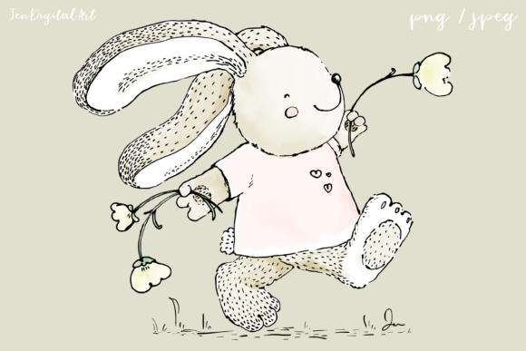 Cute Rabbit Skipping with Flowers Clip Art Illustration Graphic By Jen Digital Art Image 1