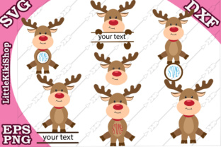 Download Free Cute Reindeer Monogram Svg Graphic By Littlekikishop Creative for Cricut Explore, Silhouette and other cutting machines.
