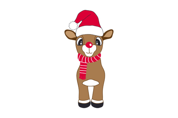 Cute Reindeer with Christmas Hat Christmas Craft Cut File By Creative Fabrica Crafts