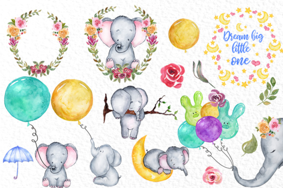 Download Free Cute Watercolor Elephant Clipart Graphic By Vivastarkids for Cricut Explore, Silhouette and other cutting machines.