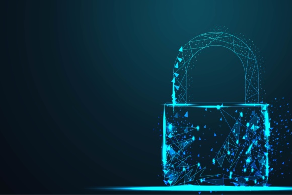 Cyber Lock Security Padlock Illustration and Background Graphic By ojosujono96 Image 1