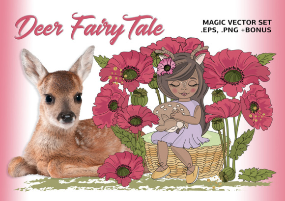 DEER FAIRY TALE Color Vector Illustration Set Graphic Illustrations By FARAWAYKINGDOM - Image 1