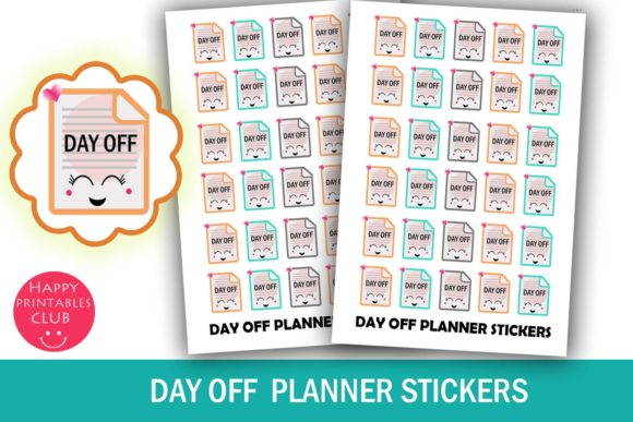 Print on Demand: Day off Planner Stickers Graphic Crafts By Happy Printables Club