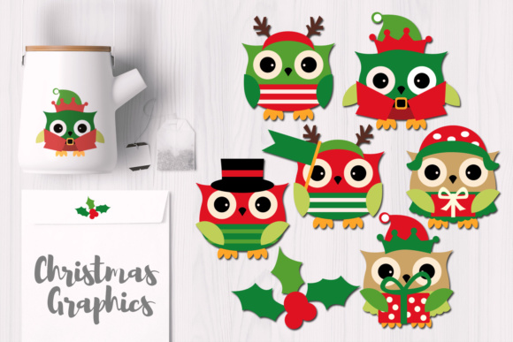 Print on Demand: December Christmas Owls Graphic Illustrations By Revidevi