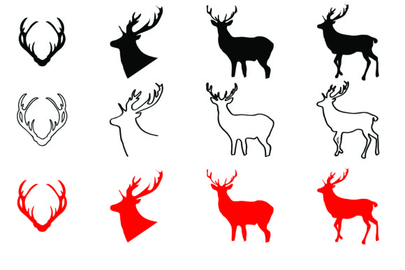 Download Free Deers Antlers Christmas 12 Designs Bundle Graphic By Bluestar for Cricut Explore, Silhouette and other cutting machines.