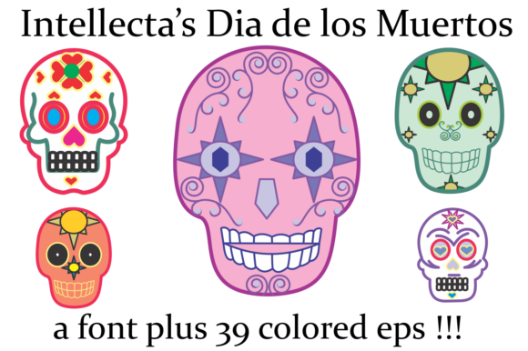 Print on Demand: Dia De Los Muertos Dingbats Font By Intellecta Design - Image 2